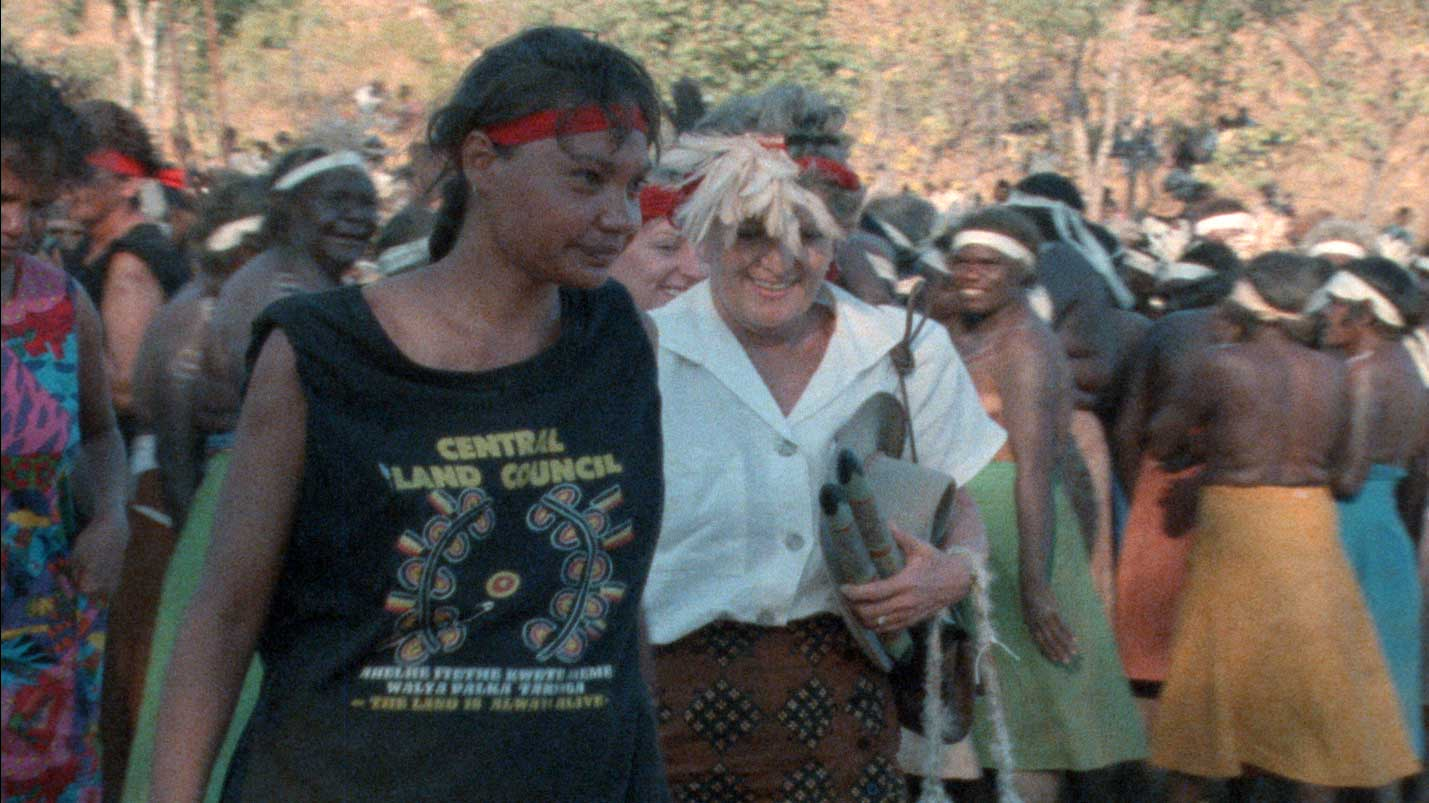 Australian Institute of Aboriginal Studies, Make it Right! film still featuring Barb Shaw, Hazel Hawke and women at the Barunga Sport and Cultural Festival, 1988, Australian Institute of Aboriginal and Torres Strait Islander Studies Collection