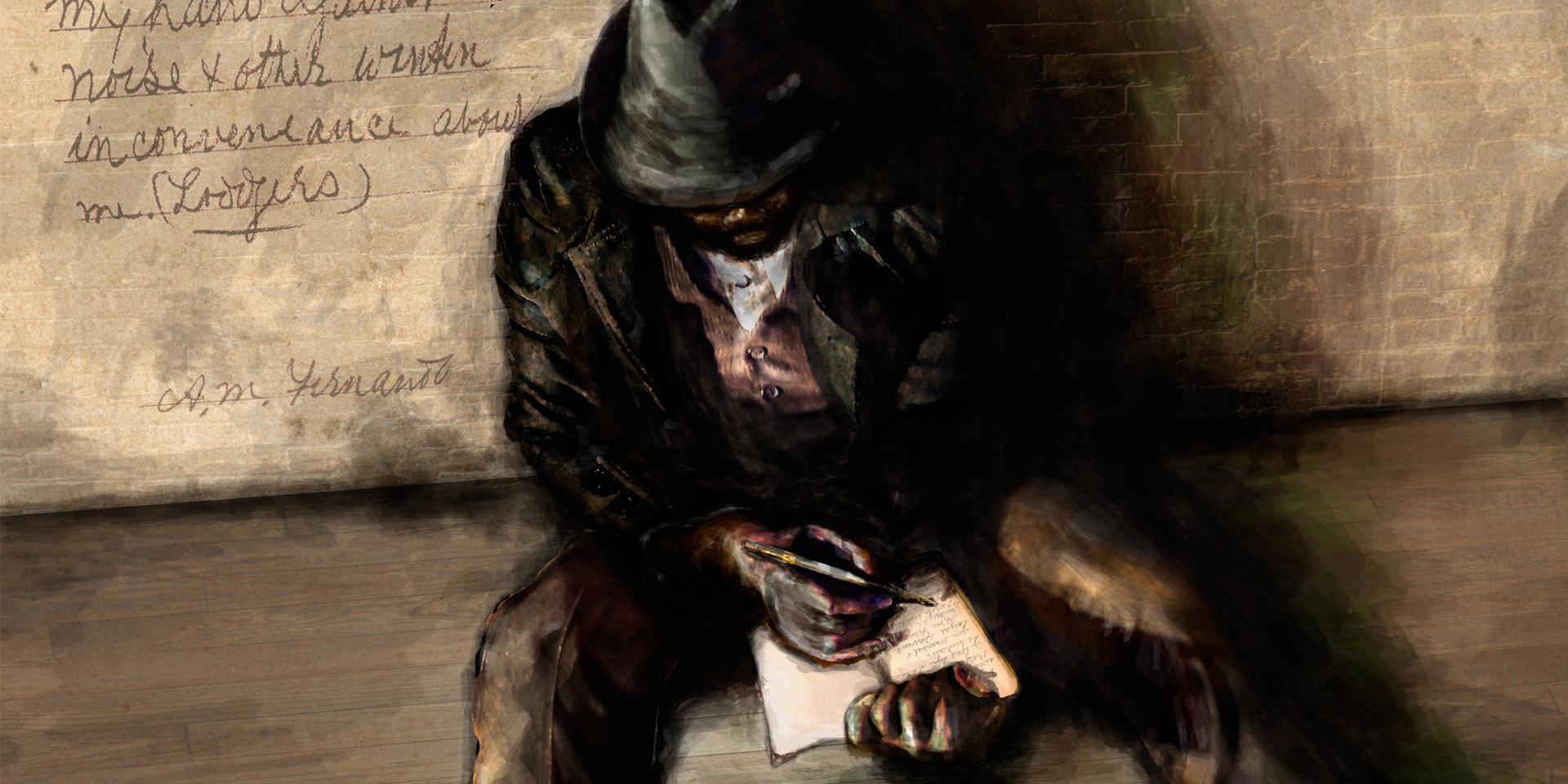 This is a digital art image titled The Lone Protestor, by Daryl Ciubal. It depicts A M Fernando writing in his notebook