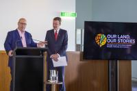 AIATSIS CEO Craig Ritchie with the Hon Dan Tehan MP, Minister for Education at the Our Land, Our Stories launch at Parliament House.