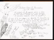 Page from a Sorry Book featuring signatures, comments and drawings by members of Shoalhaven Women for Reconciliation