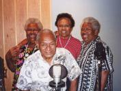 Seaman Dan with the famous singing trio from the Torres Strait, the Mills Sisters