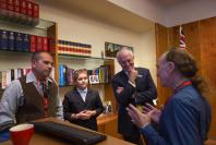 Tyronne Bell, Jai Bell, and Glen Freeman help Malcom Turnbull to give an acknowledgement of country in Ngunawal.