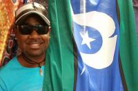 Bernard Namok Jnr and the Torres Strait Islander flag