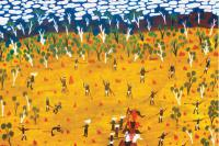 Story of Mayawagu by senior Borroloola artist Nancy McDinny, the image courtesy of Waralungku Arts, Borroloola, NT