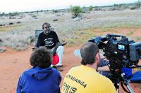 Peace Dodd being interviewed by Jason Thomas. Image courtesy of Indigenous Community Stories.