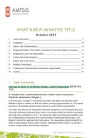 What's New in Native Title - October 2015 cover