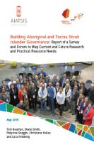 Building Aboriginal and Torres Strait Islander governance: report of a forum to map current and future research and practical resource needs cover