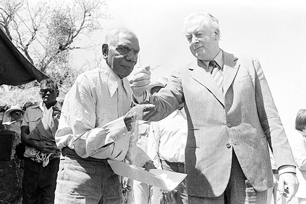 Vincent Lingiari famously given back Gurindji tribe lands by Prime Minister of Australia Gough Whitlam in 1972 after the Wave Hill walkoff. Courtesy of National Archives of Australia.